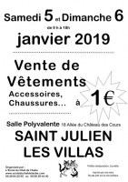 Vente de vêtements, accessoires, chaussures, linge de maison à 1 euro