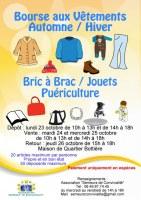 Bourse aux vêtements automne/hiver, bric à brac, jouets, puériculture