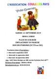 Vide grenier organisé par l'association Couleurs pays samedi 21 Septembre 2019