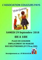 Vide grenier organisé par l'association Couleurs pays samedi 29 Septembre 2018