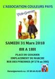 Vide grenier organisé par « Couleurs pays », samedi 31 mars 2018 Paris 20