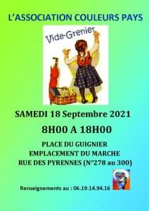 Vide grenier Couleurs Pays samedi 18 septembre 2021 Paris 20