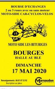 """Bourse Moto Side car -Cyclos Vélos Solex Scooter pièces avec """"Moto Side les Bituriges""""..."""