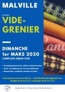 VIDE GRENIER Le dimanche 1er mars 2020